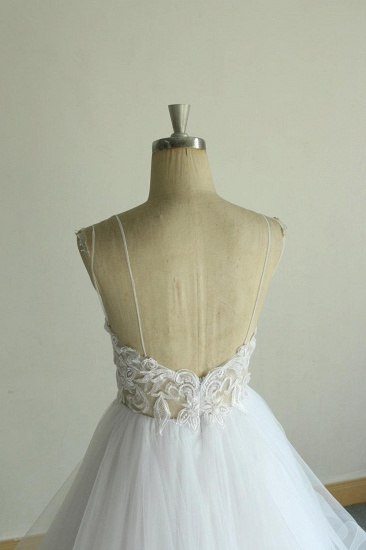 BMbridal Sexy Spaghetti Straps Tulle White Wedding Dress Sleeveless A-line Bridal Gowns On Sale_8