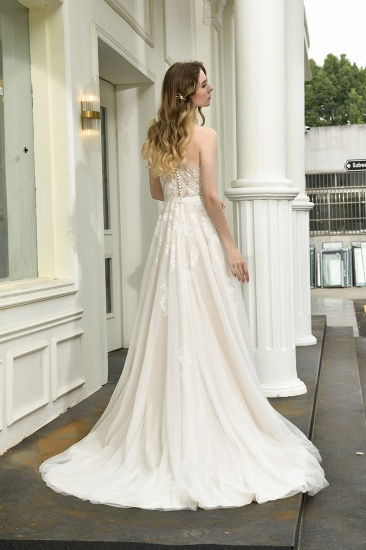 Sexy A-Line One Shoulder Tulle Lace Ivory Wedding Dress Online_3