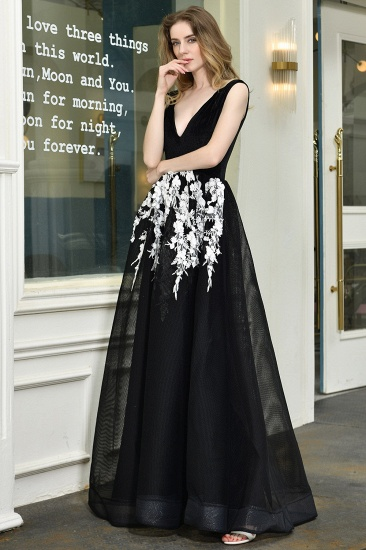 BMbridal Sexy Black Long Prom Dress V-Neck Evening Gowns With Lace Appliques_6