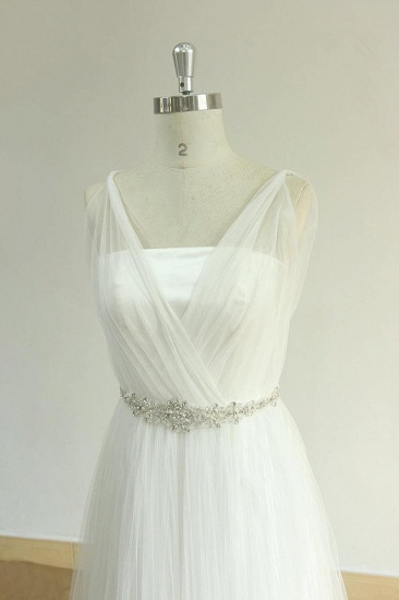 BMbridal Elegant Straps Tulle White Wedding Dress A-line Ruffles Sleeveless Bridal Gowns On Sale_4