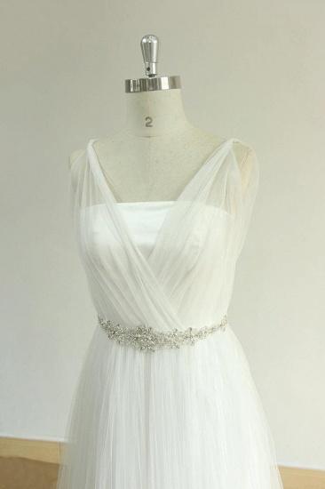 Elegant Straps Tulle White Wedding Dress A-line Ruffles Sleeveless Bridal Gowns On Sale_4