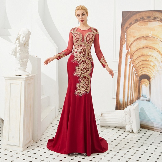 Burgundy Long Sleeve Mermaid Prom Dress With Gold Appliques Online_17