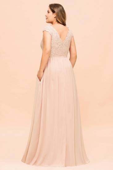 Elegant Jewel Chiffon Lace Affordable Bridesmaid Dresses with Slit_3