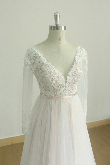 Stylish Longsleeves V-neck Tulle Wedding Dress White Appliques A-line Bridal Gowns On Sale_4