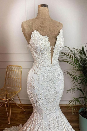 BMbridal Elegant Satin Sweetheart Mermaid Wedding Dresses White Lace Bridal Gowns With Appliques Online_3