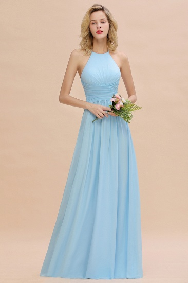 Glamorous Halter Backless Long Affordable Bridesmaid Dresses with Ruffle_2