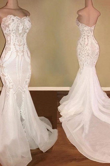 BMbridal Chic Sweetheart White Mermaid Wedding Dresses With Appliques Tulle Ruffles Bridal Gowns On Sale_3