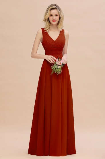 Elegant V-Neck Dusty Rose Chiffon Bridesmaid Dress with Ruffle_48