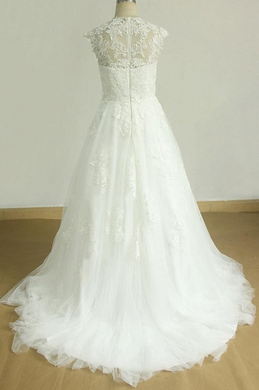 Glamorous Sleeveless Appliques Tulle Wedding Dresses A-line Lace Straps Bridal Gowns On Sale_3