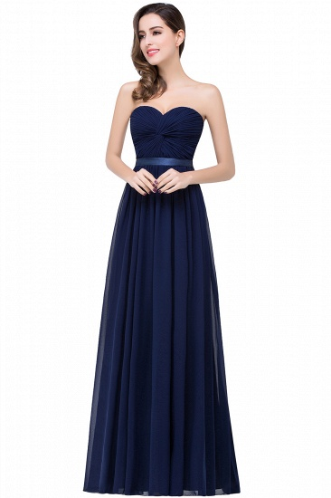 BMbridal Affordable Chiffon Strapless Navy Bridesmaid Dress with Ruffle In Stock_3