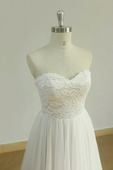 Sexy Sweetheart White Tulle Wedding Dress Lace A-line Ruffles Bridal Gowns On Sale_4