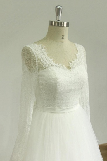 Affordable A-line White Lace Tulle Wedding Dress Longsleeves V-neck Bridal Gowns On Sale_4