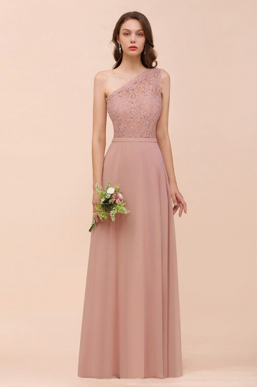 New Arrival Dusty Rose One Shoulder Lace Long Bridesmaid Dress_56