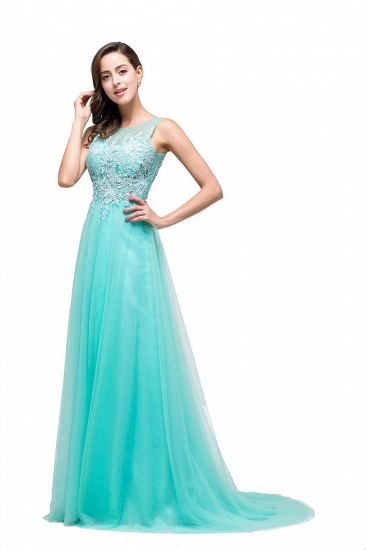 BMbridal A-line Court Train Tulle Evening Dress with Appliques_1