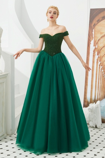 BMbridal Princess Off-the-Shoulder Prom Dress Beadings Sweetheart Ball Gown Evening Gowns_9