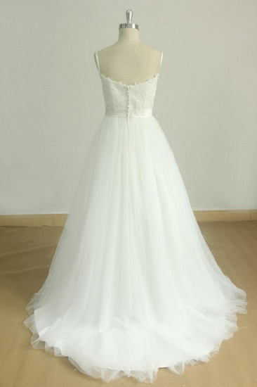 Chic Spaghetti Straps V-Neck Wedding Dresses White Tulle Appliques Bridal Gowns Online_3