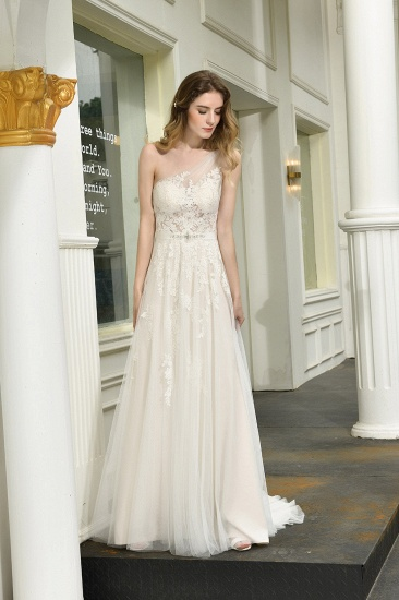 Sexy A-Line One Shoulder Tulle Lace Ivory Wedding Dress Online_7