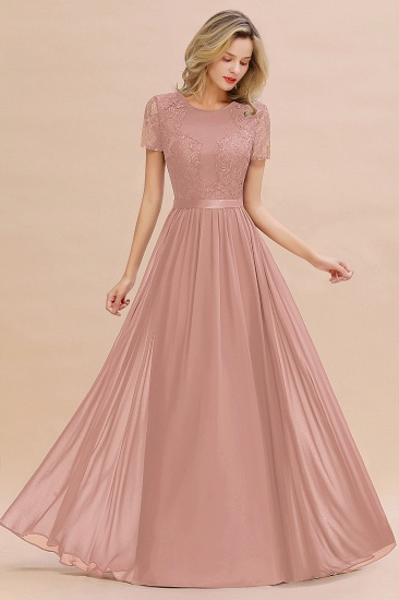 Elegant Chiffon Lace Jewel Short-Sleeves Affordable Bridesmaid Dress_6