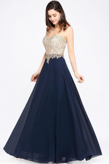 BMbridal Sheer Tulle A-line Chiffon Beads Lace Appliques Sleeveless Long Evening Dress_5
