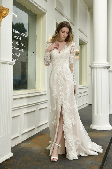 Exquisite Sheath V-Neck Long Sleeves Wedding Dress With Slit_5