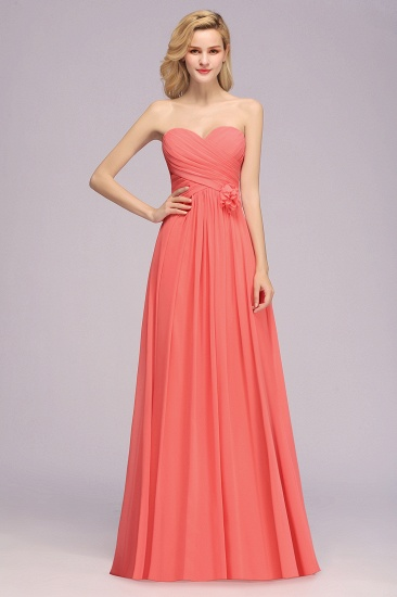 Affordable Sweetheart Strapless Chiffon Bridesmaid Dress with Flower_7