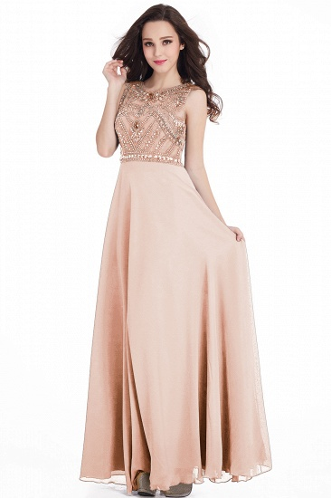 Gorgeous Sleeveless Crystal Long Prom Dress Chiffon Evening Gowns Online_2