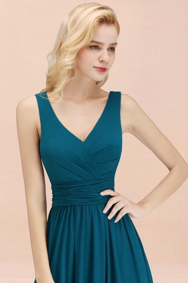 Modest Sleeveless V-Neck Long Chiffon Bridesmaid Dress Online with Ruffle_57