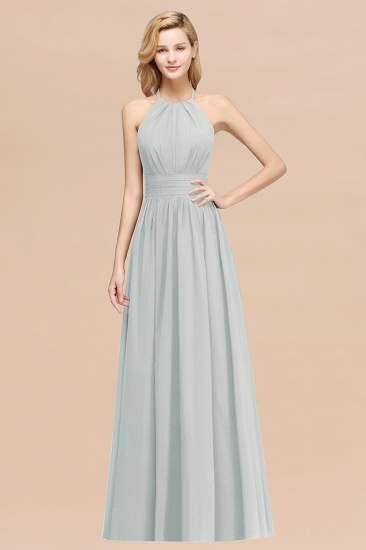 Elegant High-Neck Halter Long Affordable Bridesmaid Dresses with Ruffles_38