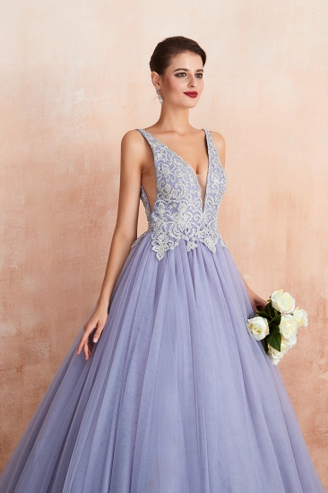 Gorgeous Lavender Lace Prom Dress V-Neck Ball Gown Tulle Formal Wears_8