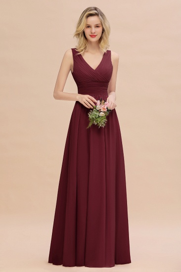 Elegant V-Neck Dusty Rose Chiffon Bridesmaid Dress with Ruffle_10