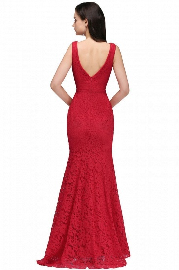 BMbridal Stunning Short Red Lace Mermaid Prom Dress_4