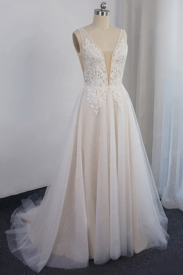 Glamorous V-neck Straps Sleeveless Wedding Dress Appliques Tulle A-line Bridal Gowns On Sale_1