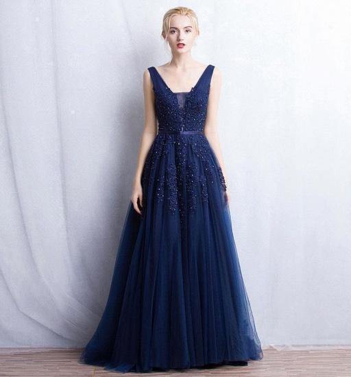 BMbridal V-Neck Sleeveless Lace Appliques Bridesmaid Dress_14