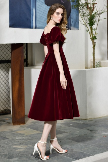 BMbridal Vintage Bugrundy Short Sleeve Prom Dress Tea-Length Party Gowns With Lace-up_9