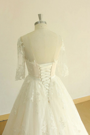 BMbridal Unique Halfsleeves Lace Tulle Wedding Dress A-line White Appliques Bridal Gowns On Sale_5