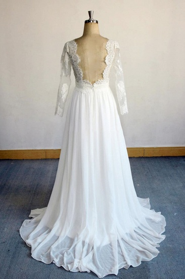 Elegant Longsleeves Appliques Lace Wedding Dress White Chiffon A-line Bridal Gowns On Sale_3