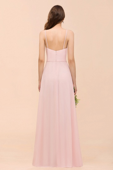 BMbridal Affordable Blushing Pink Spaghetti Straps Ruffle Bridesmaid Dress_3