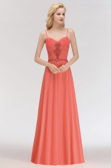 BMbridal Modest Spaghetti-Straps Ruffle Affordable Bridesmaid Dress with Appliques_5