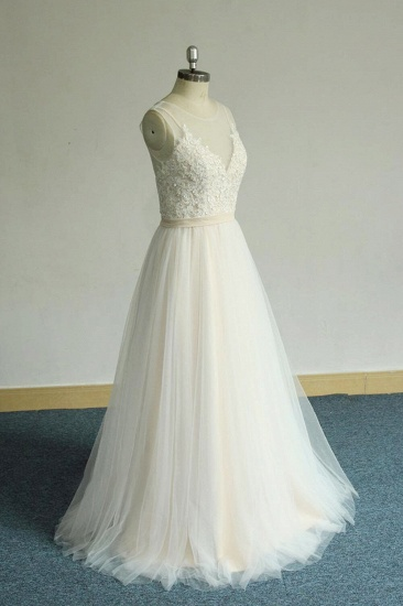BMbridal Chic Straps Sleeveless Appliques Wedding Dress A-line Tulle White Bridal Gowns On Sale_4