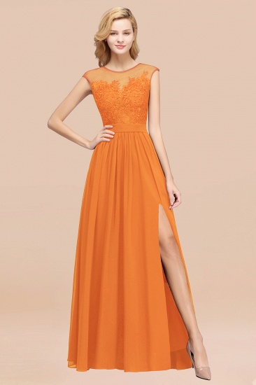 Affordable Scoop Lace Appliques Yellow Bridesmaid Dresses with Slit_15