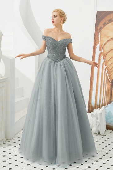 BMbridal Princess Off-the-Shoulder Prom Dress Beadings Sweetheart Ball Gown Evening Gowns_3
