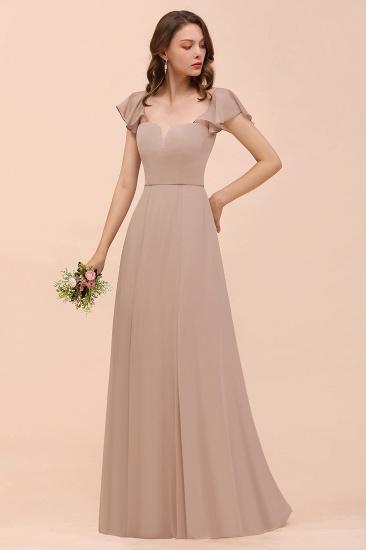 Elegant Chiffon Slit Affordable Bridesmaid Dresses with  Short Sleeves_7