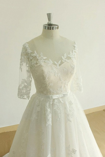 BMbridal Unique Halfsleeves Lace Tulle Wedding Dress A-line White Appliques Bridal Gowns On Sale_4