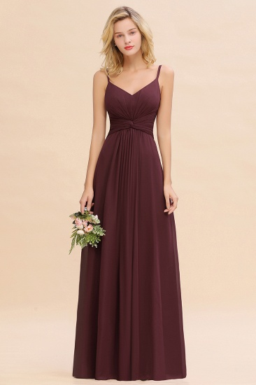 Modest Ruffle Spaghetti Straps Backless Burgundy Bridesmaid Dresses Cheap_47