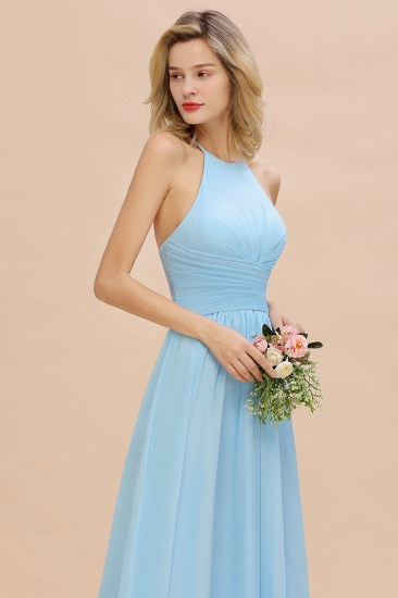 Glamorous Halter Backless Long Affordable Bridesmaid Dresses with Ruffle_8