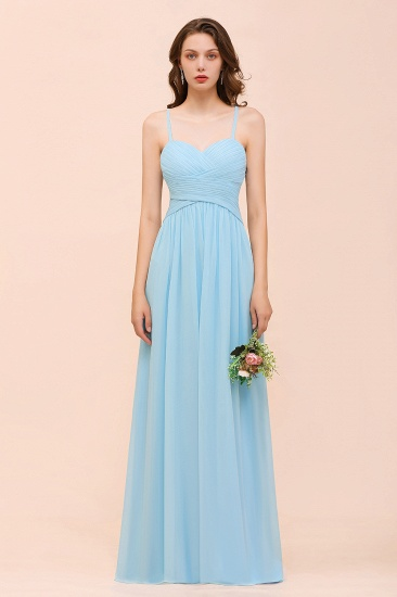 Chic Spaghetti Straps Ruffle Sky Blue Chiffon Bridesmaid Dress Online_4