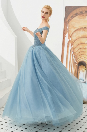 BMbridal Princess Off-the-Shoulder Prom Dress Beadings Sweetheart Ball Gown Evening Gowns_16
