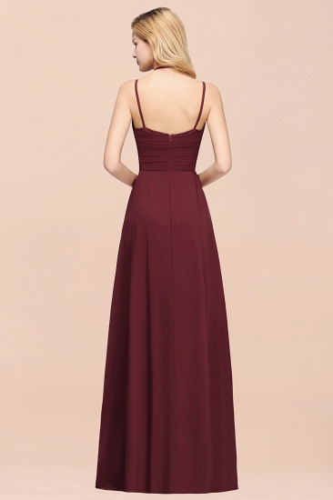 BMbridal Affordable Chiffon Burgundy Bridesmaid Dress With Spaghetti Straps_52