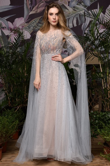 Luxurious Tulle Crystals Long Prom Dress Online With Ruffle Sleeves_17