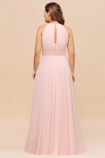 BMbridal Affordable Plus Size Chiffon Round Neck Pink Bridesmaid Dress_3